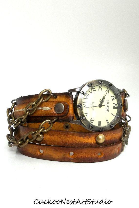 Wrap Watch, Womens  watch, Bracelet Watch, Tobacco Brown Wrap Watch