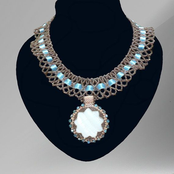 Blue victorian purity necklace by SpiralDesignJewelry on Etsy, $59.00
