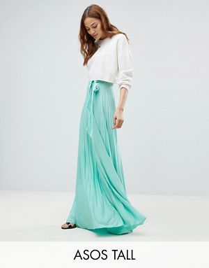 84258fe513 ASOS TALL Pleated Maxi Skirt with Belt | clothing | Bridesmaid ...