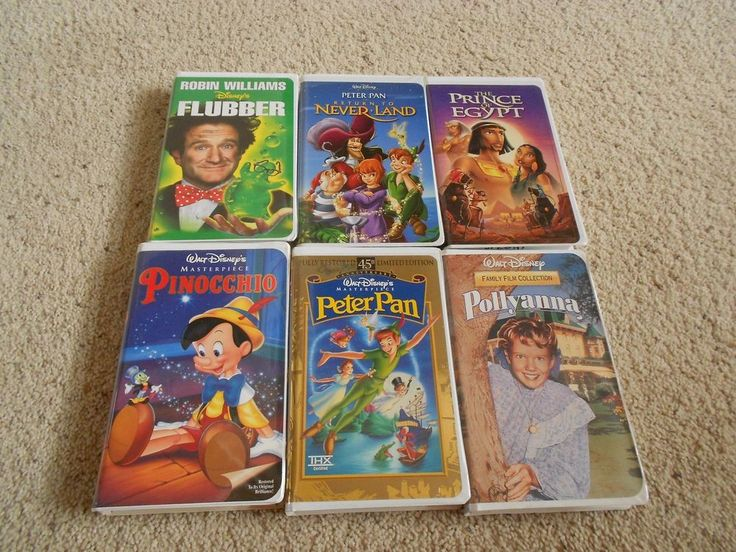 Disney VHS Tape LOT of 6 Movies PETER PAN 45TH LIMITED EDITION FLUBBER POLLYANNA