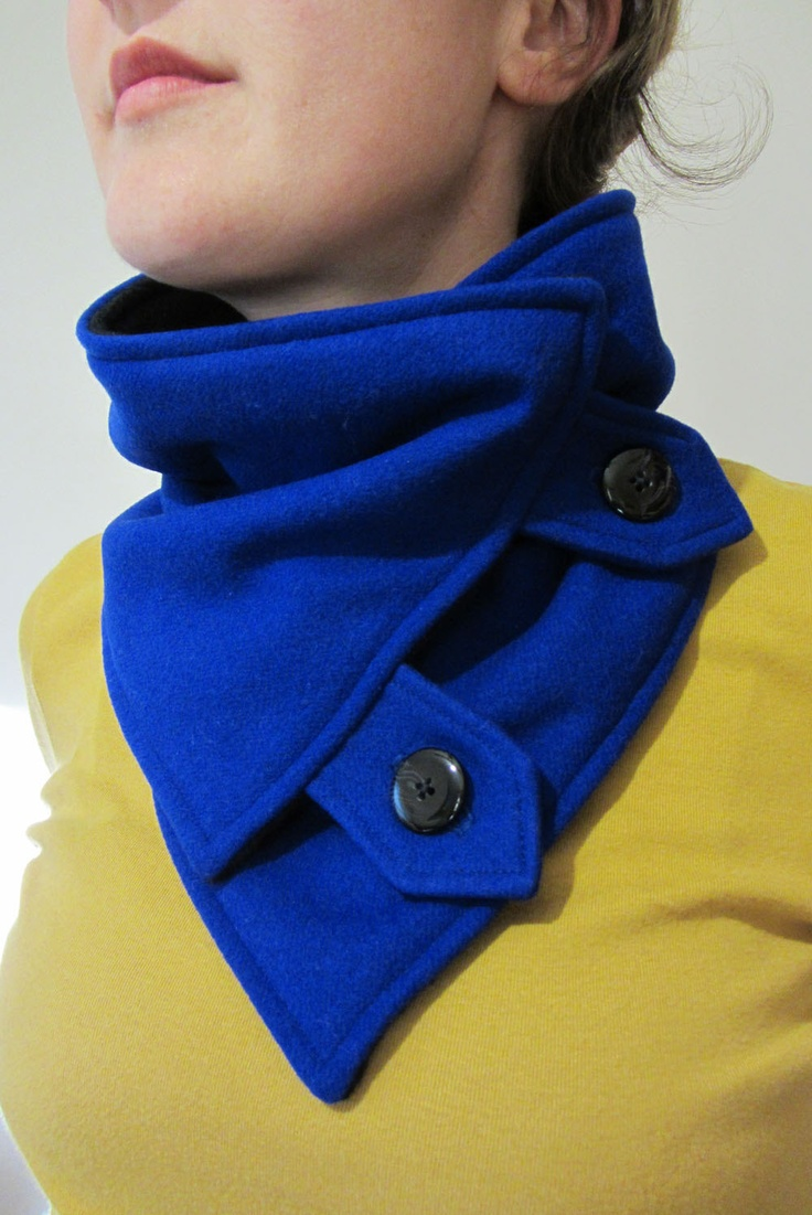 Royal Blue Upcycled Wool Neck Warmer Scarf with Vintage Buttons