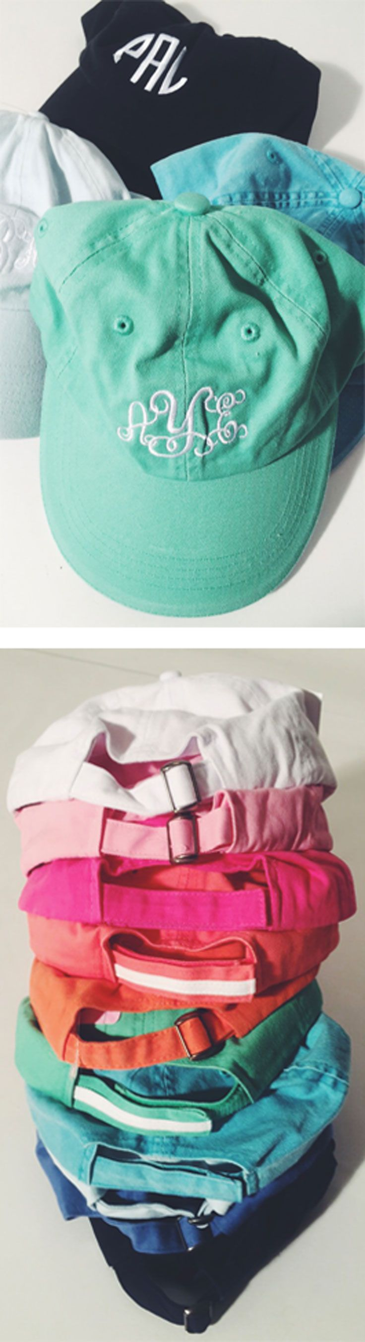 Love this in teal and coral!! With a great font JHN! Marleylilly.com! #monogrammedbaseballhat #preppy