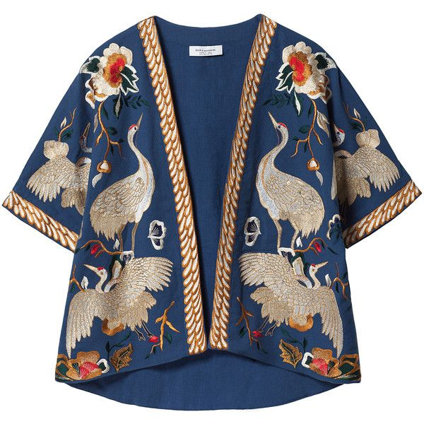 Zara Kimono Sleeve Loose Jacket ($189) ❤ liked on Polyvore featuring outerwear, jackets, tops, coats, only one, lined jacket, embroidered jacket, kimono sleeve jacket, blue jackets and loose jacket