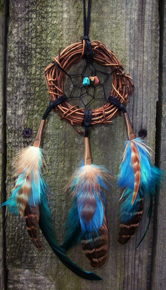Blue Dream Catcher Turquoise Tigers Eye by 7WishesDreamcatchers, $25.00