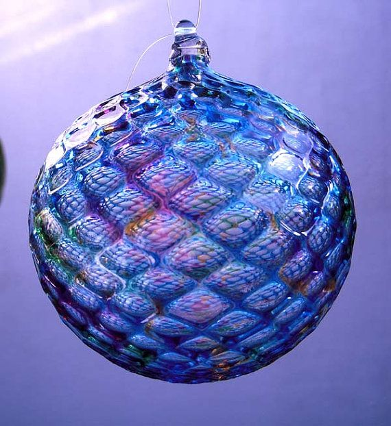HAND BLOWN GLASS Christmas Ornament Suncatcher Ball Faceted Pattern on Etsy, Sold