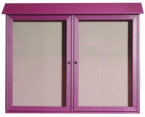 PLD3645-2-7. Rosewood Two Door Hinged Door Plastic Lumber Message Center with Vinyl Posting Surface. 36″ High x 45″ Wide