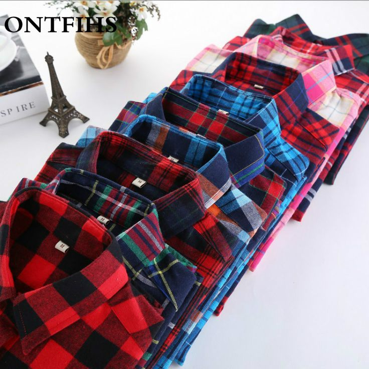 Plaid Cotton Blouse Women Casual Long Sleeve Blouse Women Checked Shirts Women Red black Plaid Office Lady Blouse  OL M-5XL
