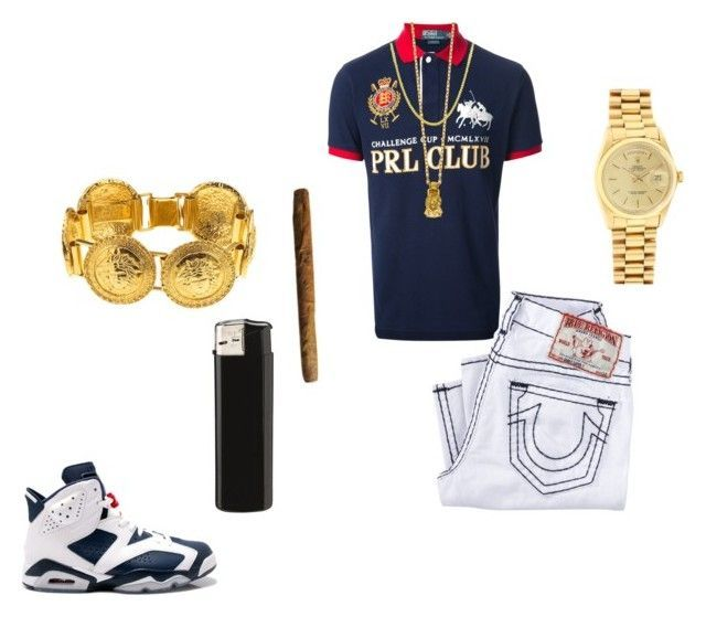 """polo king"" by chiefkeefsosa ❤ liked on Polyvore featuring Polo Ralph Lauren, Retrò, Mister, Versace, True Religion and Rolex"