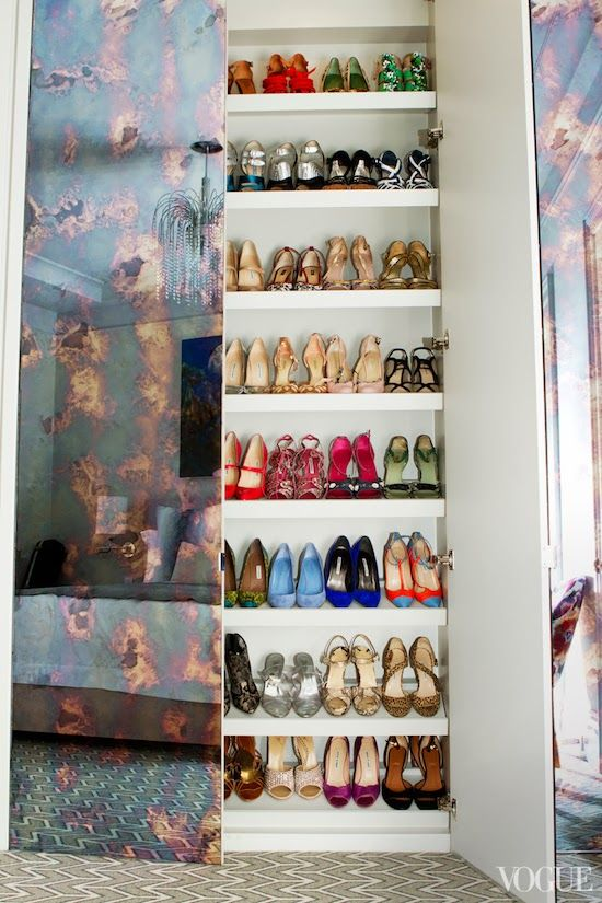 Shoe Closet with antiqued mirrored doors