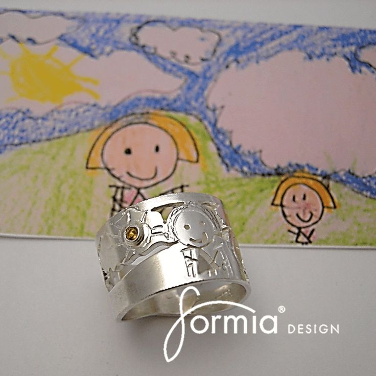 Birthstone family ring with your favorite drawing