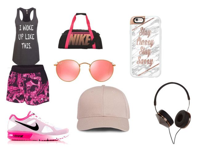 hit the gym by cocoblair25 on Polyvore featuring Champion, NIKE, Ray-Ban, Frends and Casetify