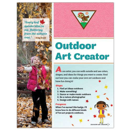As an artist, you can walk outside and see colors, shapes, and ideas for things you want to create. Find out how you can make your own art outdoors and have fun doing it! This 12-page pamphlet provides the steps needed for the Brownie age level girl to earn her Outdoor Art Creator Badge. Badge sold separately. Pamphlet is three hole punched to fit into the Girls' Guide to Girl Scouting binder. Each 12-page pamphlet individually packed in a poly-bag. Printed in the USA.Purchase the hard copy…