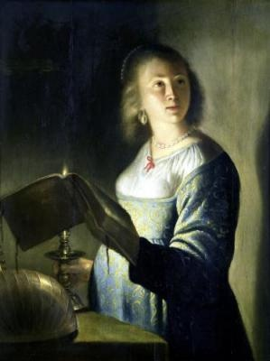 Isaac de Joudervile - Dutch (Leiden, ca. 1612 – 1645/48 Amsterdam) second pupil of Rembrandt ~ young lady with candle
