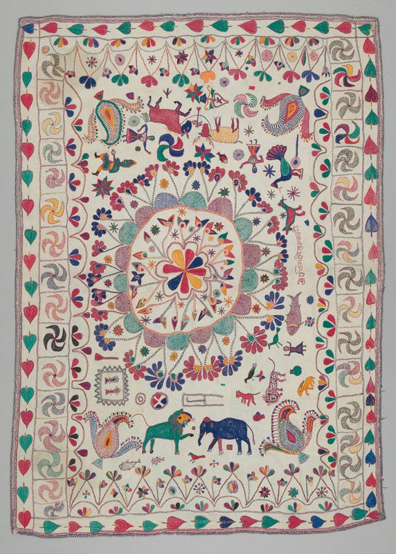 Bed Cover, Kantha, Srimirthi (Mrs.) Lokhibala Dashi. 1920-1960. From the Fitzgerald Collection. Until the mid-20th century, women throughout West Bengal made embroidered cloths called kantha from used garments, first pieced together and then embroidered with simple darning and running stitches. See it now at the TMC in the exhibition, Perpetual Motion, on view until March 10, 2013.