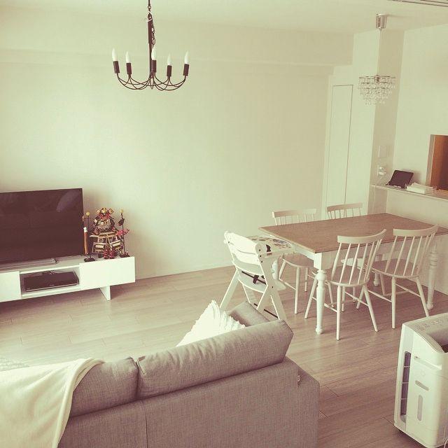 みんなどうしてる?縦長リビングの家具配置&インテリア | RoomClip ... ホワイト&ナチュラルで広く