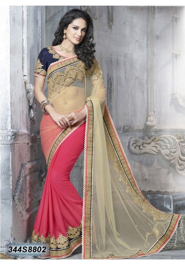 Beige And Pink Net And Faux Chiffon Saree