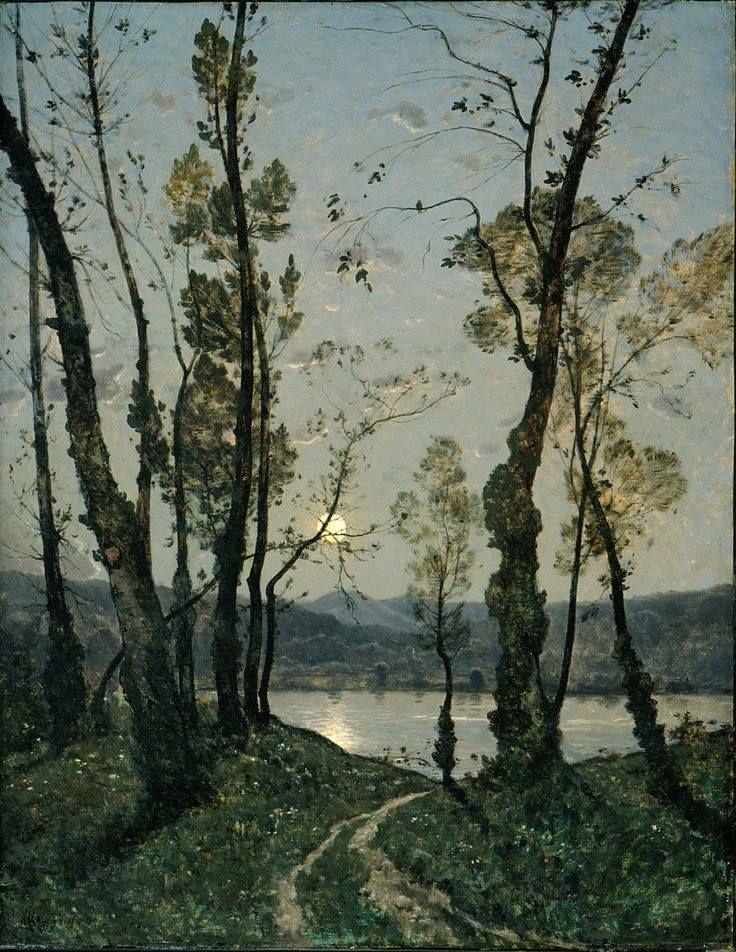 Henri-Joseph Harpignies (French, 1819 - 1916) Moonlight 1889