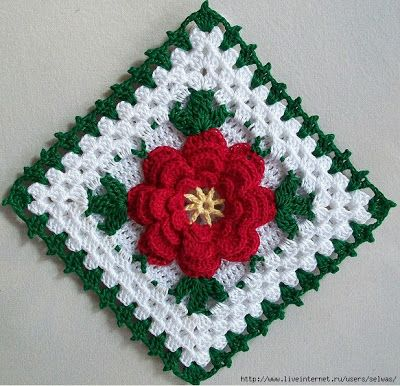 Granny's square with a flower.