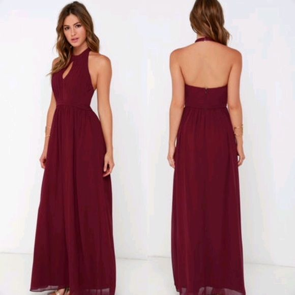 """Lulu's Formal """"Ooh Gala-La Burgundy Gown"""" Size S A beautiful burgundy gown that I only wore once for 1 hour! It has a halter neck with two little buttons and a zip up the side. Gorgeous color in photos and an extremely flattering go to gown for any formal or semi formal event! Perfect for a Christmas party!! Selling for $40 less than it is online right now and it has no signs of ever being worn! May be willing to take lower so send me offers! :) Lulu's Dresses Maxi"""