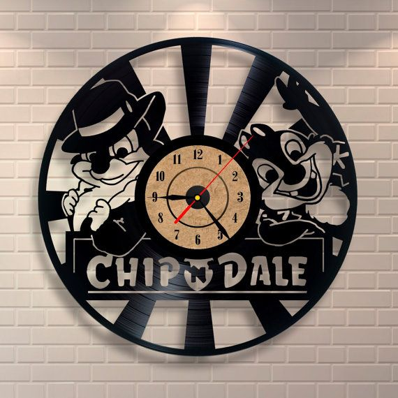 Chip and Dale art vinyl record wall clock home by Vinylastico