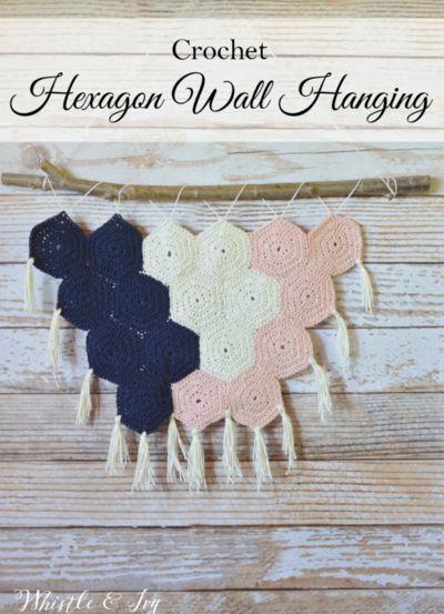 Fun and Feminine Hexagon Crochet Wall Hanging