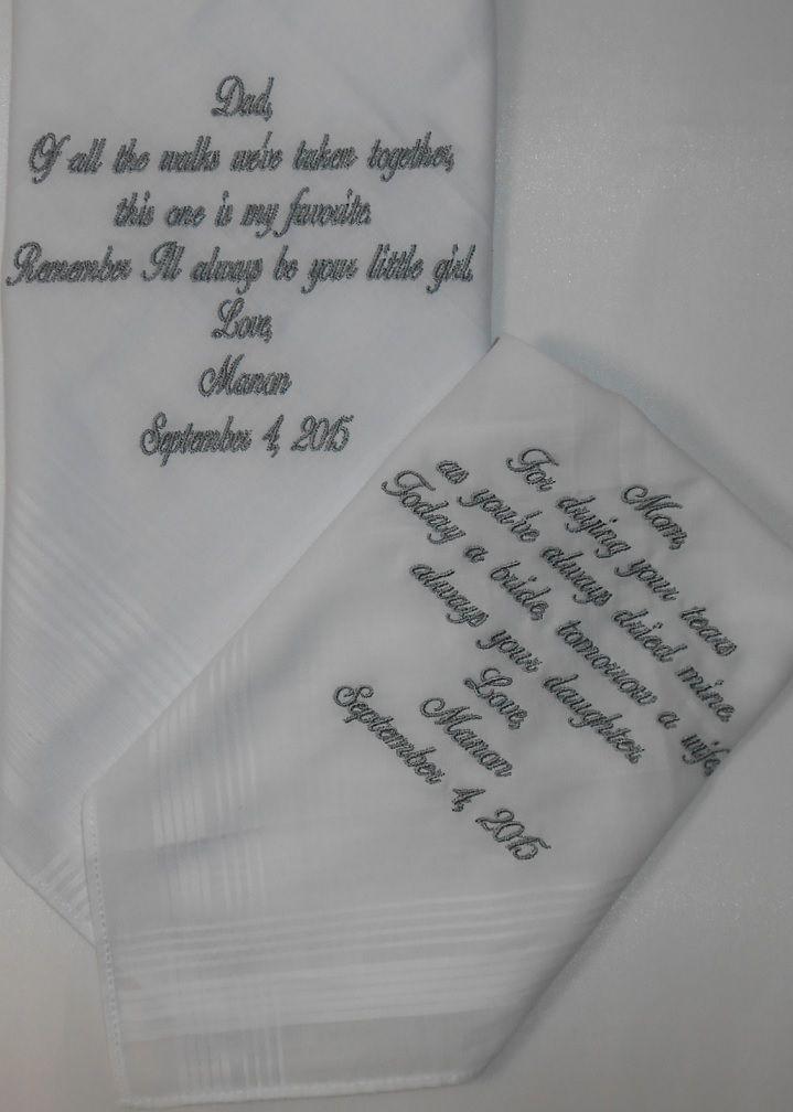 dames en heren zakdoek wit fijne streep met tekst geborduurd.