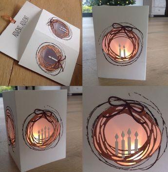 Teelichtkarte, Adventskranz, Adventkarte, Alexandra Renke, Tim Holtz, Stampin Up, Wimdlichtkarte,