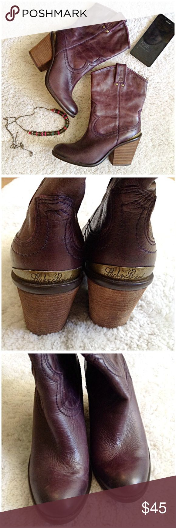 Lucky Brand Purple Leather Boho Cowboy Heel Boots Lucky Brand Purple Leather Boho Cowboy Heel Boots. Size 7. Used, Great Condition. Worn both inside/outside about 8 times. Upper is 100% leather. Lining of boot is Manmade. Measurements: Heel is 4 inches. Feel free to ask questions. Bundles & Offers Welcomed. 🚫NO TRADES🚫 Lucky Brand Shoes Heeled Boots