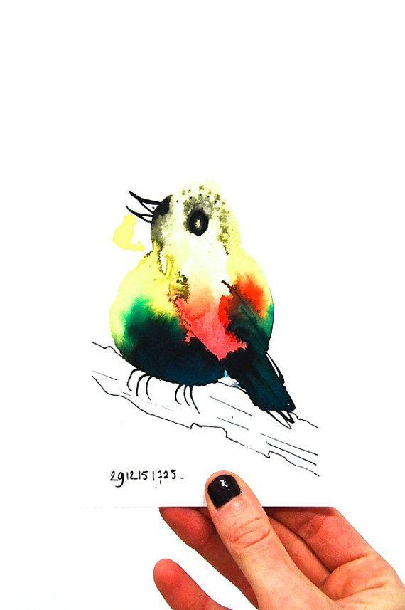 Kleurrijke vogel originele inkttekening vogel op tak door BIRDADAY