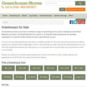 Greenhouses for sale in many sizes, both aluminium and wooden at the best prices. Friendly advice and free UK home delivery from Greenhouse Stores.
