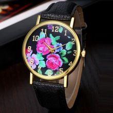 Relogio Masculino erkek kol saati reloj mujer Flower Tištěné Dial Quartz náramkové hodinky Ženy Hodiny Lady PU kůže Náramkové (Čína (pevninská část))