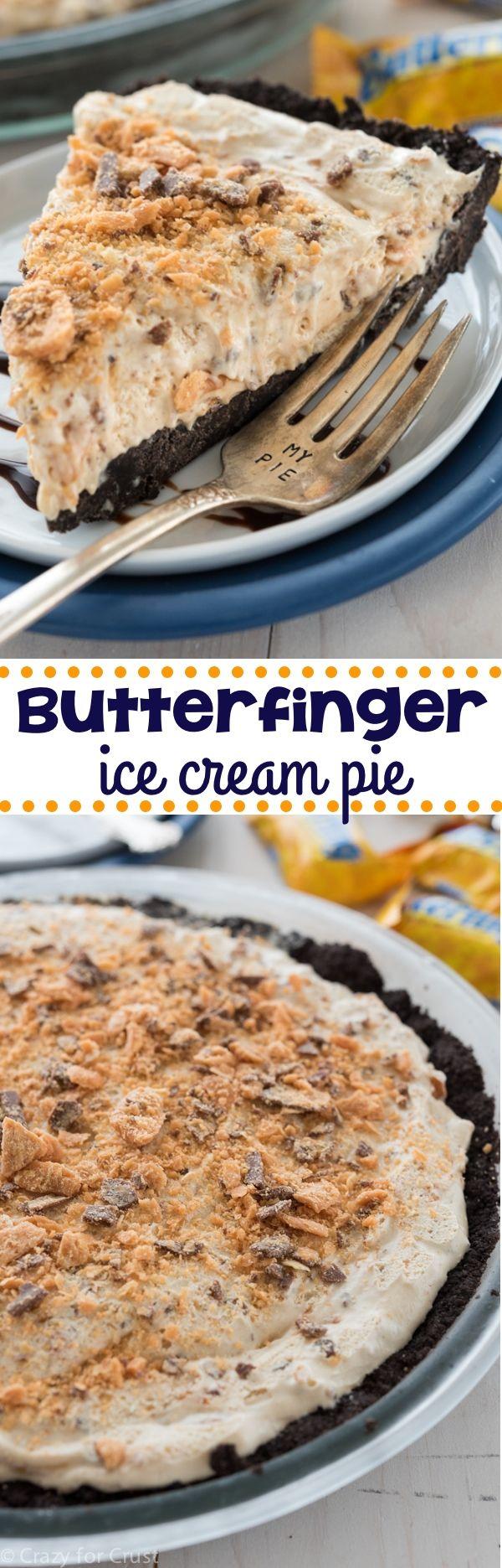 Sin Hornear Butterfinger Hielo Cream Pie - un fácil sin pastel horneado con una corteza Oreo!  Lleno de mantequilla de maní y helado Butterfinger!