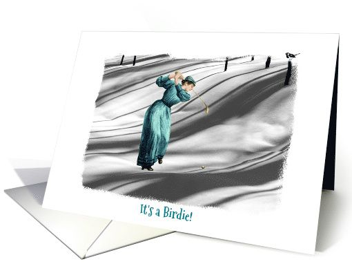 Birthday - Golf Humour - Winter - Woman Golfer in Snow - Vintage Dress card
