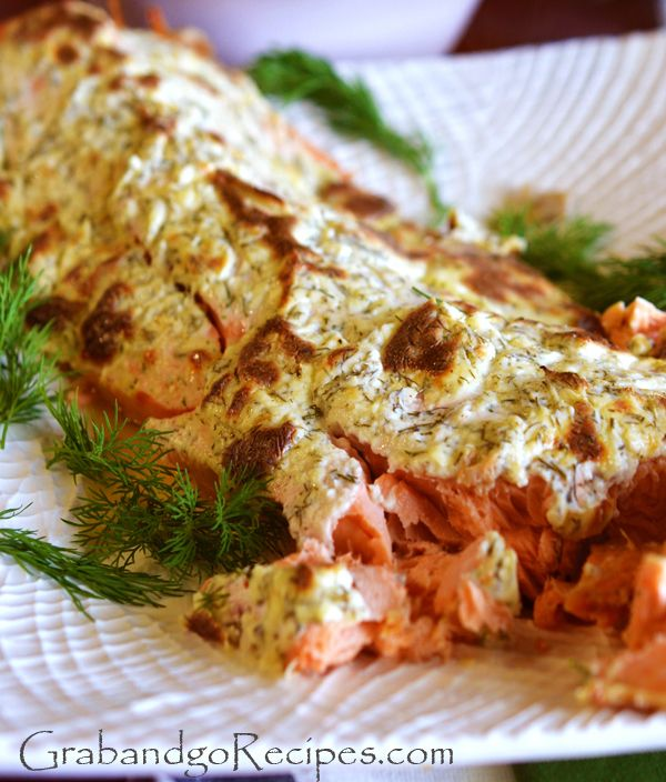 Creamy Baked Salmon with lemon and dill B