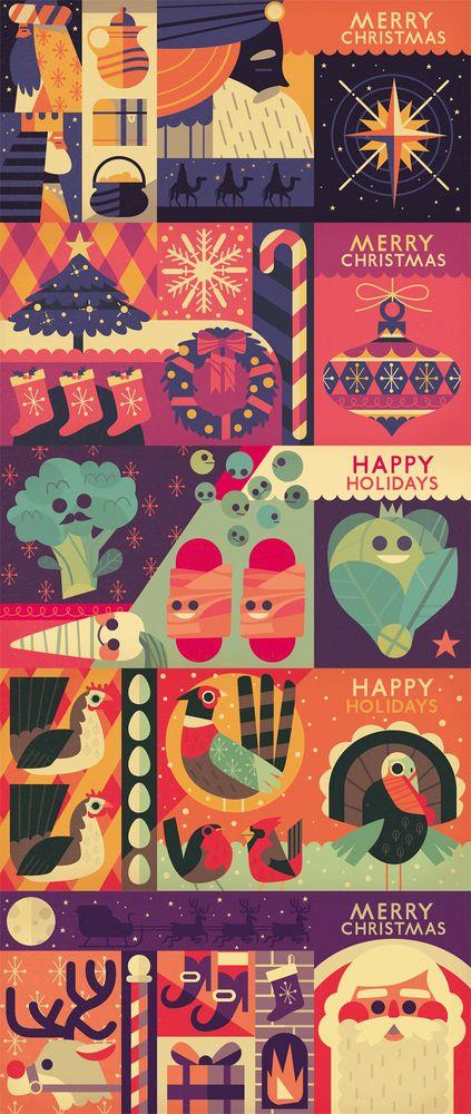 Concertina Christmas Card Designs by Owen Davey http://owendavey.bigcartel.com/product/concertina-christmas-cards