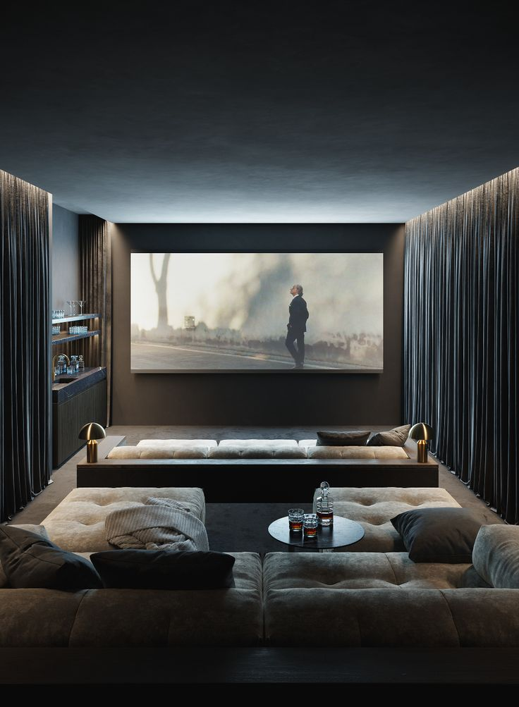 Home Theater Design is one of the most thing nowadays. We always looking for Home Theater ideas. Home Teater room design is the best choice. Home Design, Home Theater Room Design, Home Cinema Room, Home Theater Rooms, Home Theater Seating, Home Interior Design, Cinema Room Small, Small Movie Room, Home Theater Basement