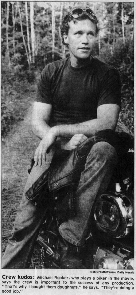 Michael Rooker - from Rookerholics FB -- Photo taken on the set of 'Retreads', Wausau Daily Herald, 1987