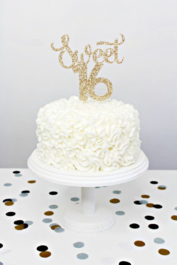 Glitter Sweet 16 Cake Topper Handmade Cake Topper by YummyParty (birthday cake decorating gold)
