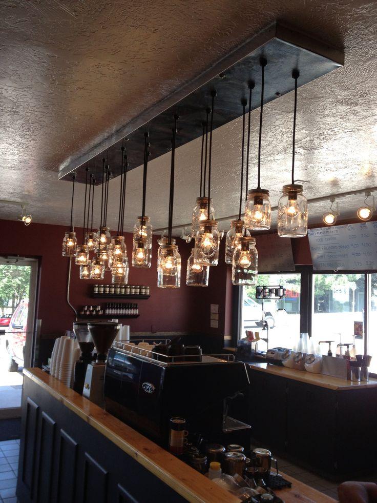 Mason jar lights | Coffee Shop | Pinterest