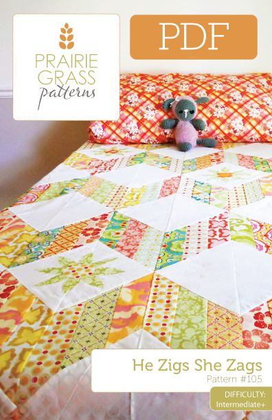 Chevron Quilt Pattern Using Jelly Roll : Image of He Zigs She Zags: PDF Quilt Pattern #105 Quilting Pinterest Quilt Patterns, Jelly ...