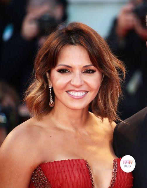 Luciana Damon- Matt Damon's wife wearing ldezen earrings at the 2017 Venice Film Festival premiere of 'Downsizing'