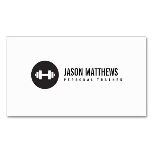 Personal Trainer White Dumbbell Logo Fitness Business Card. Great card for trainers, gym owners, fitness instructors and more. Fully customizable and ready to order. customizable business cards | cheap business cards | cool business cards | Business card templates | unique business cards
