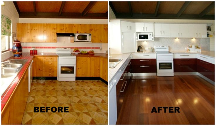 Before & After shot Products: Trend surfaces used for bench tops and splash blacks in White Copper.