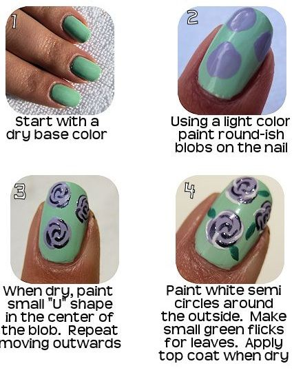 Easy Floral nail art tutorials from   http://www.diycraftstutorials.com/floral-nail-art-tutorials/