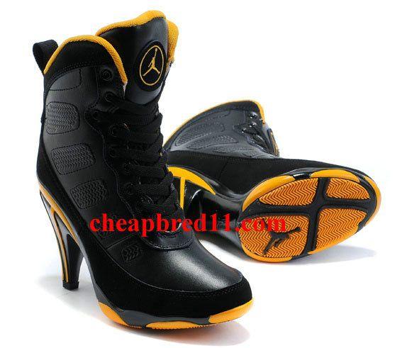 Womens Air Jordan 9 High Heels Black Yellow