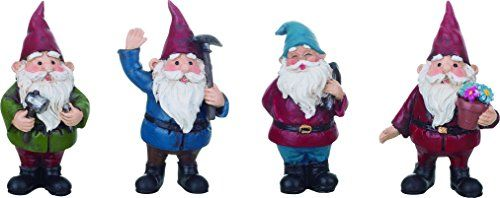 Transpac Imports holiday and everyday decorative products are made of quality materials. Let your decorations and home accents tell a story and show personality this holiday with these highly detailed products. Great addition to any room and will add joy to your home during the holidays.  Features  Includes four (4) assorted garden gnome figurines  Each figurine measures approximately 1.5 x 1.25 x 3 inches  Made of quality resin stone  Perfect for displaying in a garden on a patio or on a…