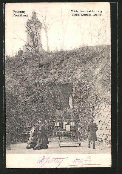 alte AK Pozsony / Pressburg, Mária Lourdesi barland, Maria Lourdes-Grotte 1908