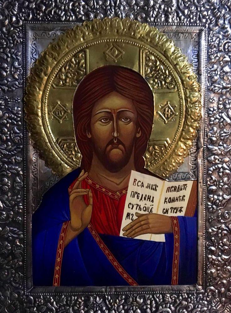 Icono Vizantino con plata realzado a mano 30x40cms