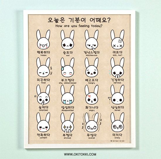 How are you feeling today Korean/English Bilingual Emotion 11x14 Art Print Poster. $24.00, via Etsy.