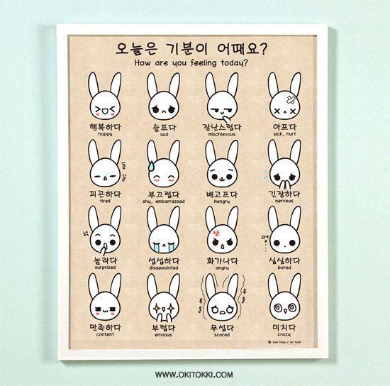 How are you feeling today Korean/English Bilingual Emotion 11x14 Art Print Poster. $24.00, via Etsy.